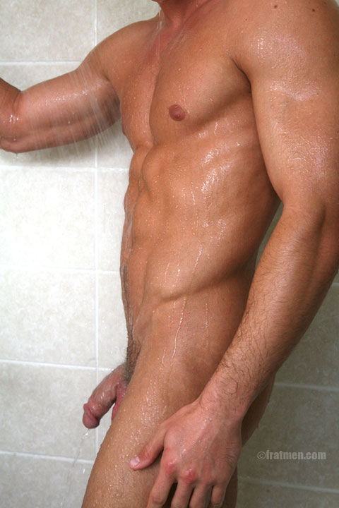 Muscle fratmen model Kennedy nude in shower