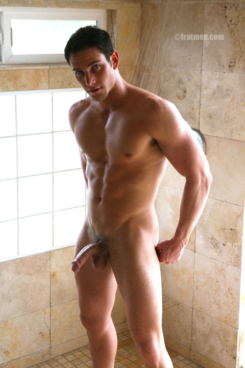 Muscle college boy naked in shower with erection