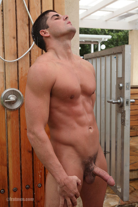 Muscle men showering nude with erection. FratmenTV model Orion showering ...