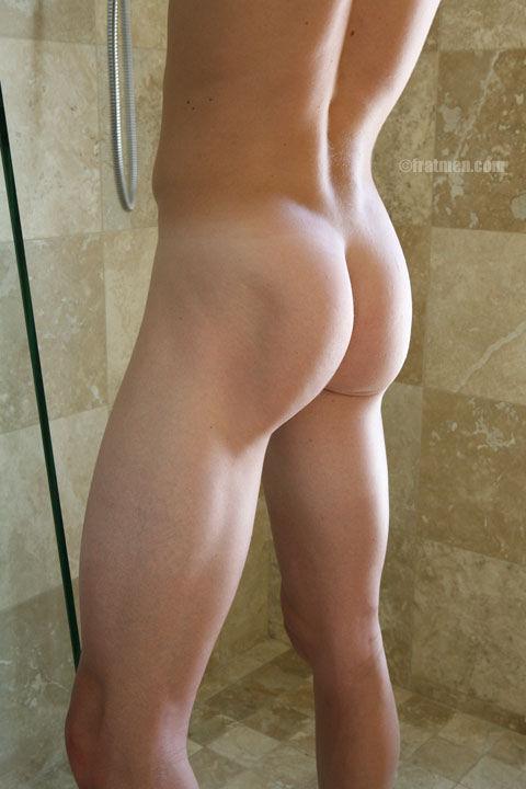 Sexy fratmen butt naked in shower