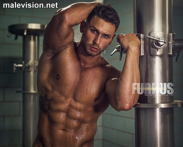 men naked in showers