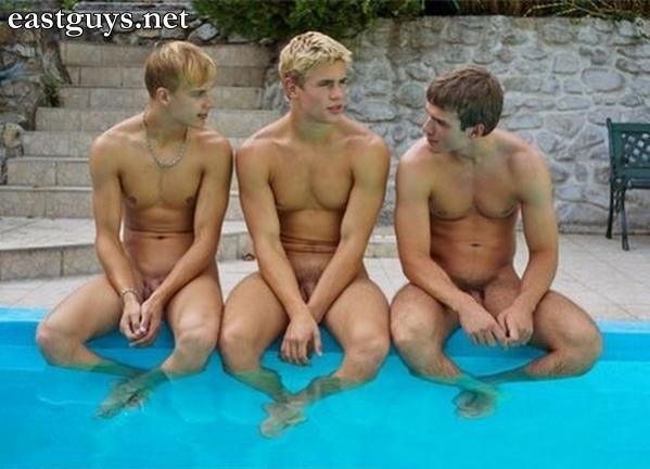 naked men at the swimming pool