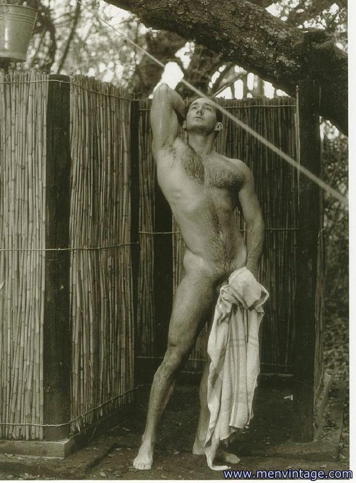 naked man showering