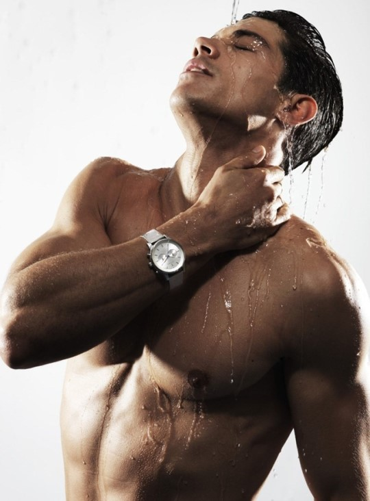 male model showering
