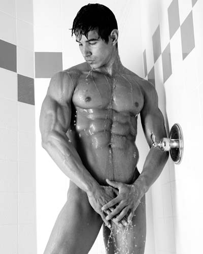 man showering