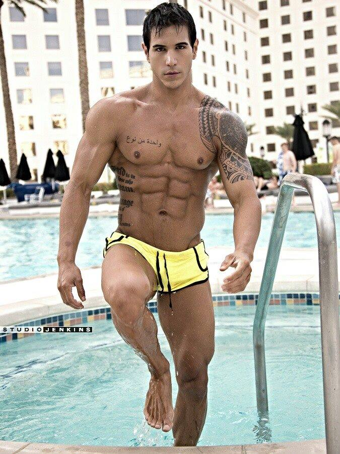 Alan Valdez in the swimming pool