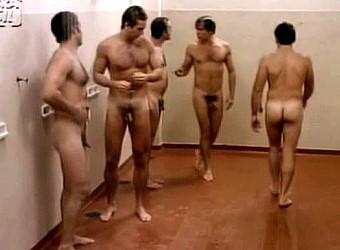 men in showers