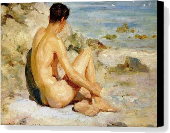 naked boy on the beach by henri tuke