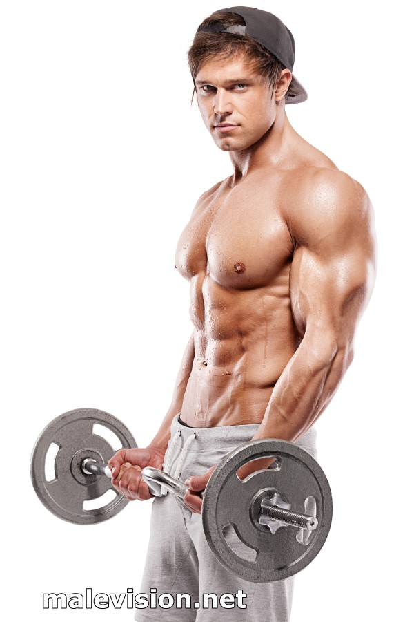 Muscular bodybuilder working out with dumbbells wall art